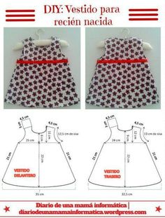 DIY: Dress for newborn girl, includes pattern. DIY: Baby dress size new born.This Pin was discovered by els Kids Dress Patterns, Baby Clothes Patterns, Sewing Patterns For Kids, Clothing Patterns, Sewing Clothes, Doll Clothes, Baby Outfits, Kids Outfits, Little Girl Dresses