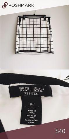 "White House Black Market Grid Mini White House Black Market grid print skirt, size 14P.  17"" waist, 18"" long and stretchy! Like new! White House Black Market Skirts Mini"