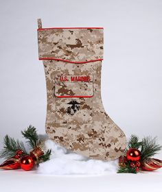 """The Marine stocking is beautifully tailored in the Marine desert """"digital camouflage"""" uniform fabric. It's trimmed in scarlet piping with the Marine Corps Emblem, the EG&A, embroidered on the stocking Christmas Stockings, Christmas Crafts, Christmas Decorations, Holiday Decor, Marine Corps Emblem, Marines, Usmc, Stocking Holders, Thoughtful Gifts"""