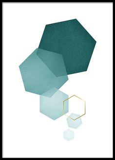 Petrol Hexagon, Poster in der Gruppe Poster / Größen und Formate / 21x30cm bei Desenio AB (8529)