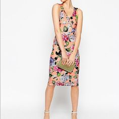 171f2a59a NWT ASOS Floral Plunge Pencil Dress This is a brand new ASOS Bright Peonie  Plunge Pencil
