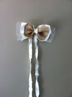 trs champettre ce noeud pour dcorer les voitures de vos invits en coton blanc - Noeud Pour Voiture Mariage Tulle