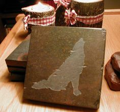 WOLF COASTERS SET - Carved Slate Stone - More Drink Coasters Designs. $29.00, via Etsy.