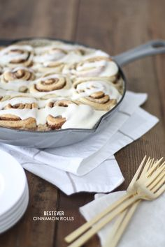 "Bakery style cinnamon rolls don't have to take all day to make. You can make them start-to-finish in less than an hour and only a few minutes hands-on time. The ""secret"" to these delectable rolls is covering them in cream just before baking. You won't regret it, I promise! xoxo Julie BlannerWhile you can bake them in a traditional baking dish, I love them in the cast iron skillet. It cooks them evenly"