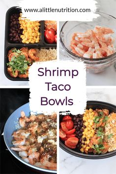 Do you love Mexican food but don't love the mess of assembling tacos, or find it tricky to take for lunch the next day? Try these convenient shrimp taco bowls which can have seasonings adjusted to your liking, and can be easily stored and packed for lunch the next day! Lunch Recipes, Seafood Recipes, Mexican Food Recipes, Salad Recipes, Healthy Recipes, Meal Prep Containers, Meal Prep Bowls, Taco Bowls, Healthiest Seafood