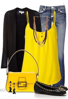 """Black and Yellow"" by mclaires on Polyvore"