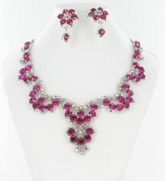 Fuchsia Necklace  Hot Pink Necklace NS-H2849 #blingnecklace #blingjewelry #pageantnecklace #pageantjewelry #promnecklace #promjewelry #lmbling