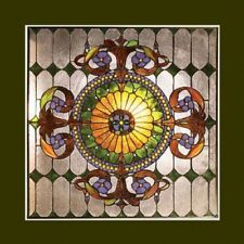 "New a Tiffany Style Victorian Stained Cut Glass Window Panel. This gorgeous Tiffany style window panel is hand-made with 569 pieces of cut stained glass, and 30 cabochons.  Each piece is copper wire wrapped by hand individually, then soldered together. The true Tiffany craftsmanship is reflected in each beautiful piece. This window panel has wonderful, vibrant colors that would accent any decor.  The glass panel measures 25"" x 25"" Square"