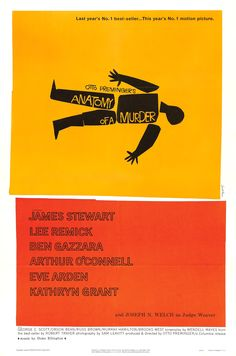 """Classic Movie Poster designed by Saul Bass for Otto Preminger's """"Anatomy of a Murder"""" / 1959"""