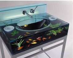 Coolest Fish Tank Ever Lave Main Bathroom Funny Sinks