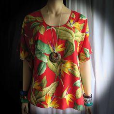 e01ac3ceaa9db Hawaiian Royal Bird of Paradise Woman Polynesian Butterfly Blouse Shirt,  tunic, cover-up