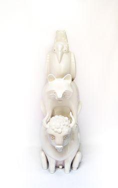 """Totem, sculpture, art, symbols, unique, hand built, animals of North America, ceramics. """" America"""" by Aura Kajas 2015."""