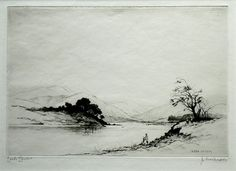 Original Drypoint by James McArdle (Jackson Simpson) of 'Loch Leven'  Henry Jackson Simpson (1893-1963) Aberdeen etcher and engraver, research and good biography link below, James McArdle was a pseudonym that he used. Probably 1920 -1930 and limited to 100 signed proofs. Image size 7.75inch x 5.25inch