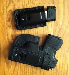 IWB & mag holster in black, XDs Xds 45 Holster, Xds 9mm, Custom Leather Holsters, Springfield Armory, Hello To Myself, Weapons Guns, Concealed Carry, Leather Working, Edc