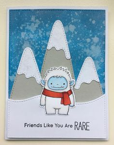 Beast Friends stamp set and Snow-Capped Mountains die-namics from MFT Stamps.  Card by Mocha Frap Scrapper