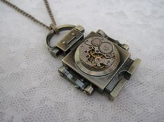 Steampunk Robot  Robot Necklace