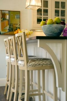 Bar stools and edge detail under counter- contemporary kitchen by Su Casa Designs