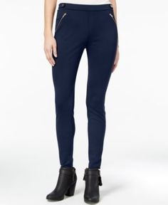 One Hart Juniors' Zip-Pocket Skinny Ponte Pants, Only at Macy's - Blue XL