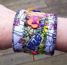 Fabric Cuff BraceletGraffitiCollage by ecothreadscouture on Etsy,