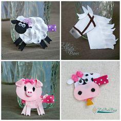 Farm Animal Collection Set Ribbon Sculpture by EllaBellaBowsWI Ribbon Hair Clips, Ribbon Art, Diy Hair Bows, Diy Ribbon, Ribbon Crafts, Ribbon Bows, Ribbons, Thanksgiving Hair Bows, Rainbow Loom Charms