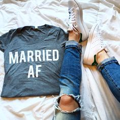 For those just married, or those who are MARRIED AF. What else are you going to wear to your Bloody Mary brunch the day after? clothes Sorry Married af is a shirt I was looking for. Found it! Thanks ladies. Wedding Goals, Wedding Tips, Our Wedding, Dream Wedding, Wedding Reception, Army Wedding, Cancun Wedding, Cruise Wedding, Wedding Weekend