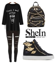 """""""SHEINSIDE Print Long T-Shirt"""" by tania-alves ❤ liked on Polyvore featuring River Island, Giuseppe Zanotti, Moschino, women's clothing, women's fashion, women, female, woman, misses and juniors"""
