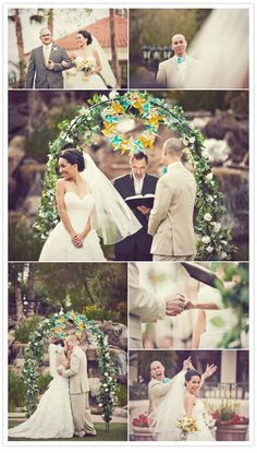 Florals and pinwheels at the altar.  How cool is this?!