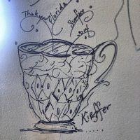 Kristen Kieffer cup drawing on St. Pete Clay wall