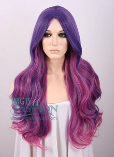 Long Curly Mixed Purple Fashion Wig MY015