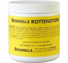 Rottenstone is a rock used as a polishing abrasive in woodworking, and is usually made with limestone mixed with other materials. This fine powder can be mixed with natural oils to polish wood to a fine finish.  Brownells