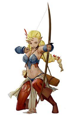 Female elf archer ranger - pathfinder pfrpg dnd d&d ed fantasy Fantasy Character Design, Character Design Inspiration, Character Concept, Character Art, Anime Fantasy, Fantasy Girl, Fantasy Women, Dnd Characters, Fantasy Characters