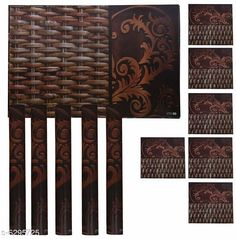 Table Runner Classy Dining Table Place Mats  Material: PVC Pack: Pack Of 6 Pattern: Printed length: 44 cm breadth: 29 cm height: 1 cm Sizes Available: Free Size   Catalog Rating: ★4.1 (2678)  Catalog Name: Classy Dining Table Place Mats CatalogID_999879 C129-SC1127 Code: 012-6295725-492