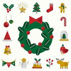 Christmas icons vector set Christmas Cartoons, Christmas Icons, Christmas Time, Christmas Wreaths, Christmas Cards, Vector Christmas, Vector Can, Vector Free, Icon Set