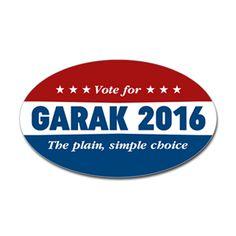 DS9 Vote Garak 2016 Oval Bumper Sticker  The plain, simple choice in the 2016 election, vote for Garak. Star Trek Deep Space Nine, Cardassian, DS9, funny, humor.