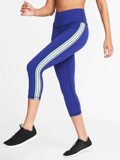 3ded52ddb7 Old Navy High-Rise Side-Stripe Compression Crops for Women $32.99 $19.00  Extra Savings