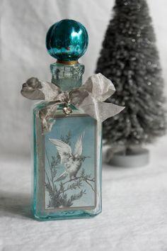 Holiday decoration bottle repurposed bottle by mysweetmaison