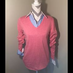 Pink layering sweater Cozy pink layering sweater. Bundle it with this shirt with a perfect look! Mossimo Supply Co Sweaters V-Necks