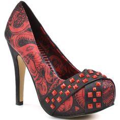 Iron Fist Women's Adam & Evil Platform - Red ($49) ❤ liked on Polyvore featuring shoes, pumps, heels, high heels, sapatos, red, platform, stiletto heels, trendy e women