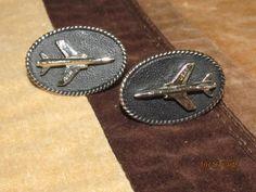 Vintage USAF Jet Pilot Black Silver Cufflinks Cuff Links Men's Jewelry Aviator by EvenTheKitchenSinkOH on Etsy