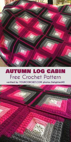 Crochet afghan Autumn Log Cabin Throw Free Pattern - Crochet and Knitting Patterns Crochet Afghans, Crochet Quilt, Afghan Crochet Patterns, Crochet Squares, Crochet Stitches, Crochet Baby, Knitting Patterns, Knit Crochet, Blanket Crochet