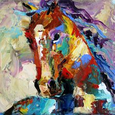 $149 First Painting of Summer Horses 100 days of color painting horses with my palette knife from Texas Equine Artist Laurie Pace