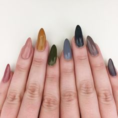 muted rainbow natural nails