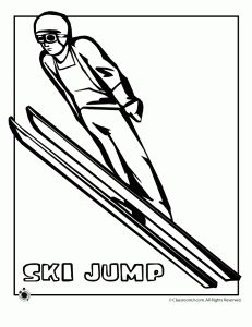 ski jump coloring page 231x300 Olympic Coloring Pages