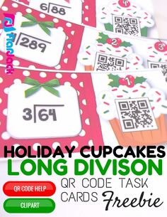 FREE Holiday Cupcakes Long Division QR Code Task Cards - Students will have self-checking, technology fun while practicing long division (1-digit divisors, with and without remainders). There are 24 QR code task cards and a recording sheet is provided in English and Spanish.