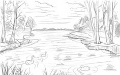 draw lake step drawing shading easy pencil drawnbyhislight drawings sketch scene landscape sketches cool ways drawn