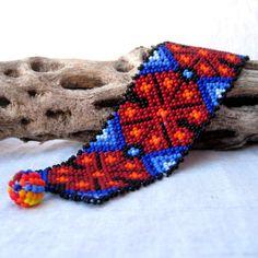 Colorful Beaded Huichol Bracelet with Peyote door MayaMerchant, $24.44