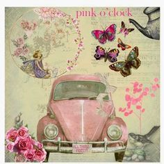 Deliziosa macchinina rosa stile shabby...