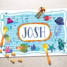 Under the Sea Personalized Placemat is perfect for any kid obsessed with the ocean and all it's fun and colorful wonders! Ocean Scenes, Printable Letters, Letter Size Paper, Dry Erase Markers, Alphabet And Numbers, Placemat, Under The Sea, Custom Design