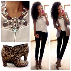 Cute simple business outfit.black skinny pants,white shirt,love her statement necklace and blazer but the short leopard print boots too.just so perfect!