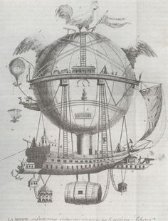 The Minerve, an 1837 escape to fancy SteamPunk balloon with escape pod for a woman.